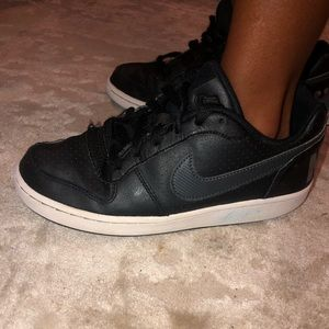 Boys black leather high tops up towns Air Force 4